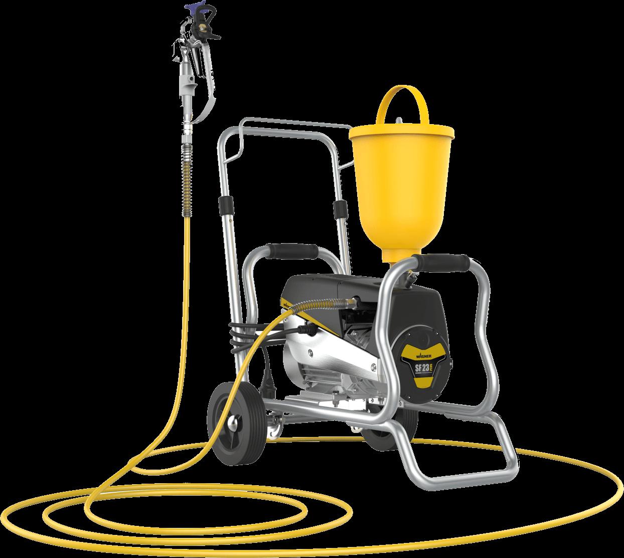 SuperFinish 23 Plus Airless Enamel Spraypack – Cart version, debit material 2,6 l/min., duza max. 0.023″, motor electric 1,3 kW